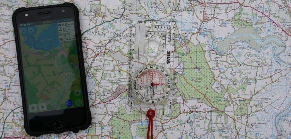 SatNav on phone, map & compass