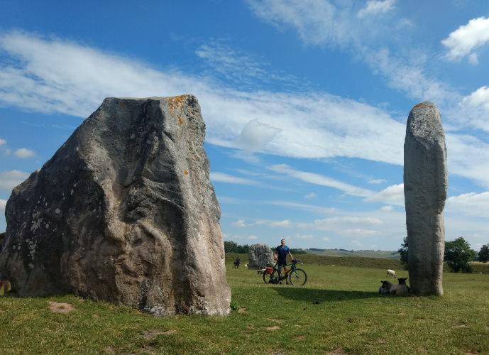 Avebury Standing Stones, with bike and rider