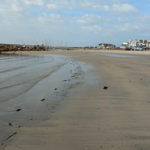The Cobb at Lyme Regis, deserted sand