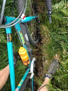 Wheel swallowed to axle in deep rut