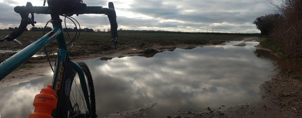 Huge puddles on Waldringfield Bridleway